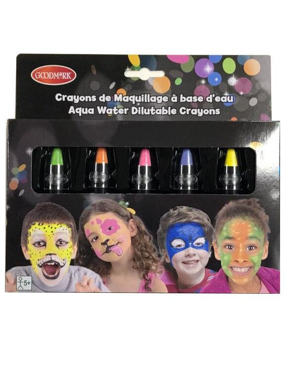 Deguisetoi 5 crayons maquillage à l'eau fluorescents enfant 2,8 g