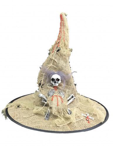 Chapeau sorcière toile de jute lumineux adulte Halloween Taille unique