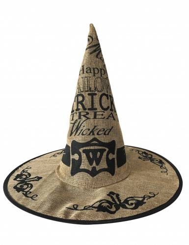 Chapeau sorcière toile de jute adulte Halloween Taille unique