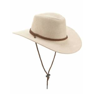 Deguisetoi Chapeau cowboy luxe beige en suede adulte