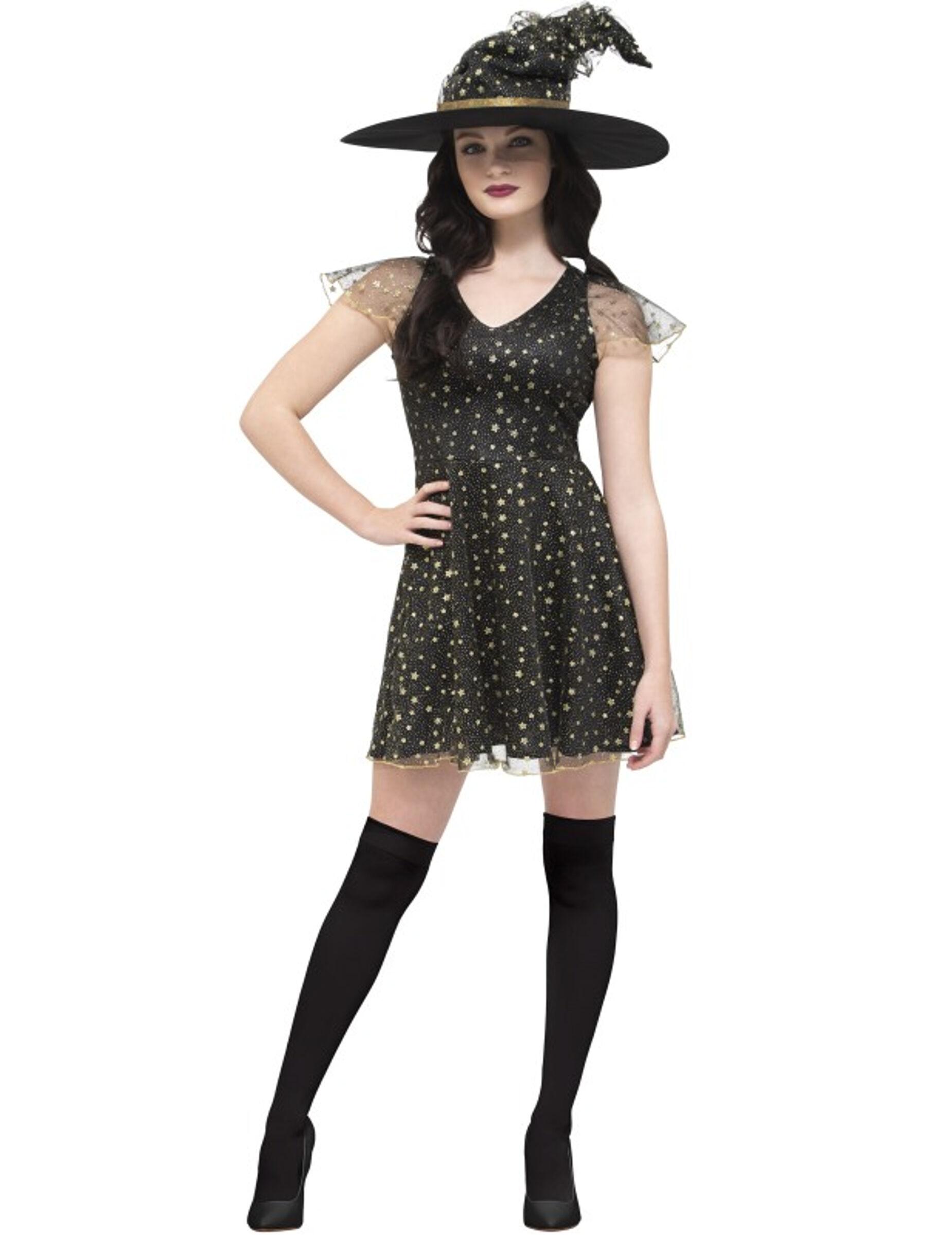Deguisetoi Déguisement sorcière des étoiles dorées femme Halloween - Taille: S