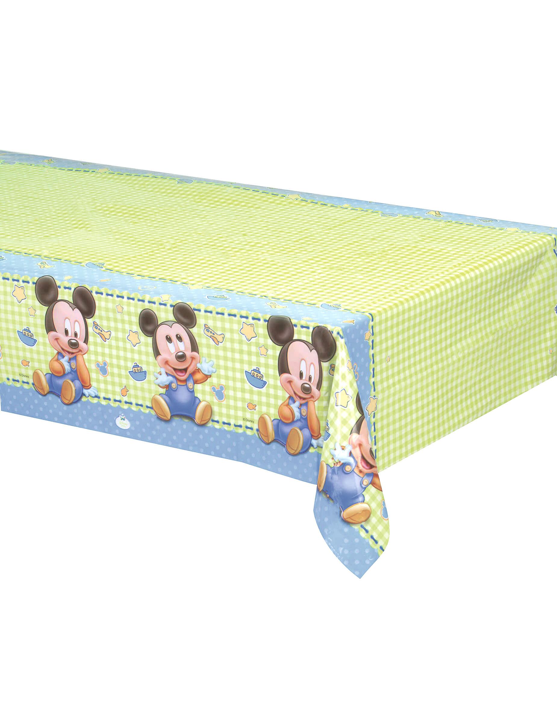 Deguisetoi Nappe plastique Bébé Mickey 120 x 180 cm