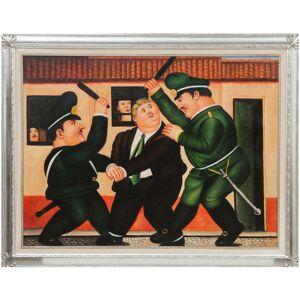 BISCOTTINI Huile sur toile avec cadre en bois peint à la main, finition feuille dargent - Publicité