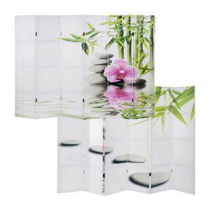 DéCOSHOP26 Paravent 6 panneaux pans séparateur de pièce 180x240cm motif orchidee - or - Publicité