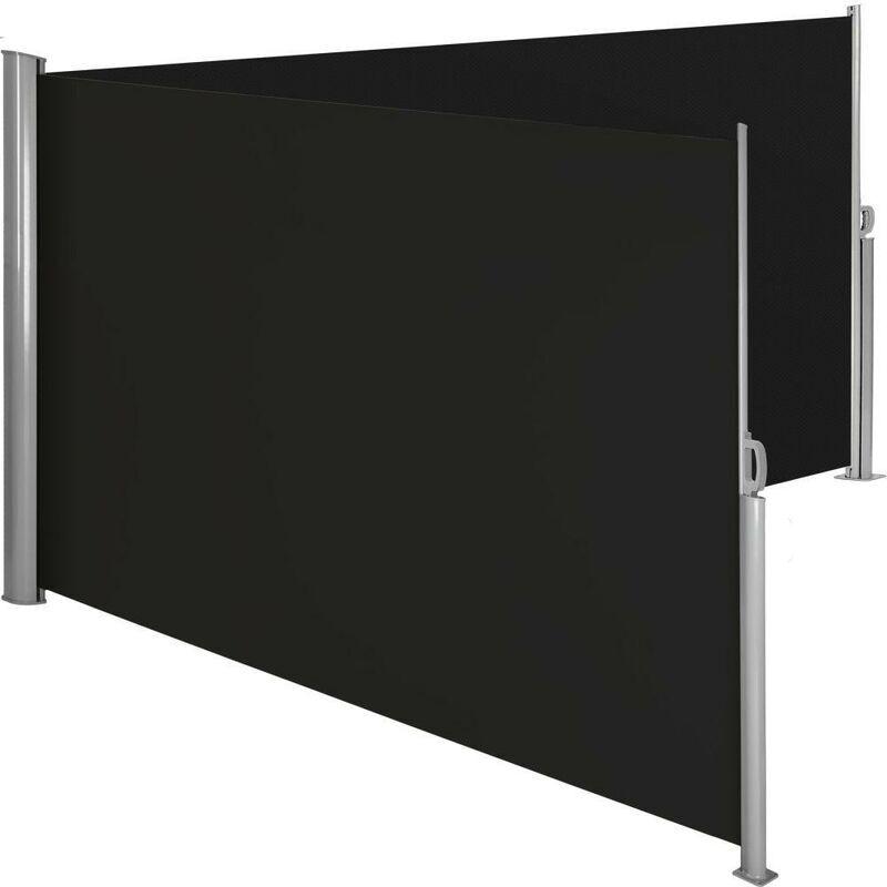 HELLOSHOP26 Auvent store latéral brise-vue paravent rétractable double noir 160 x 600 cm