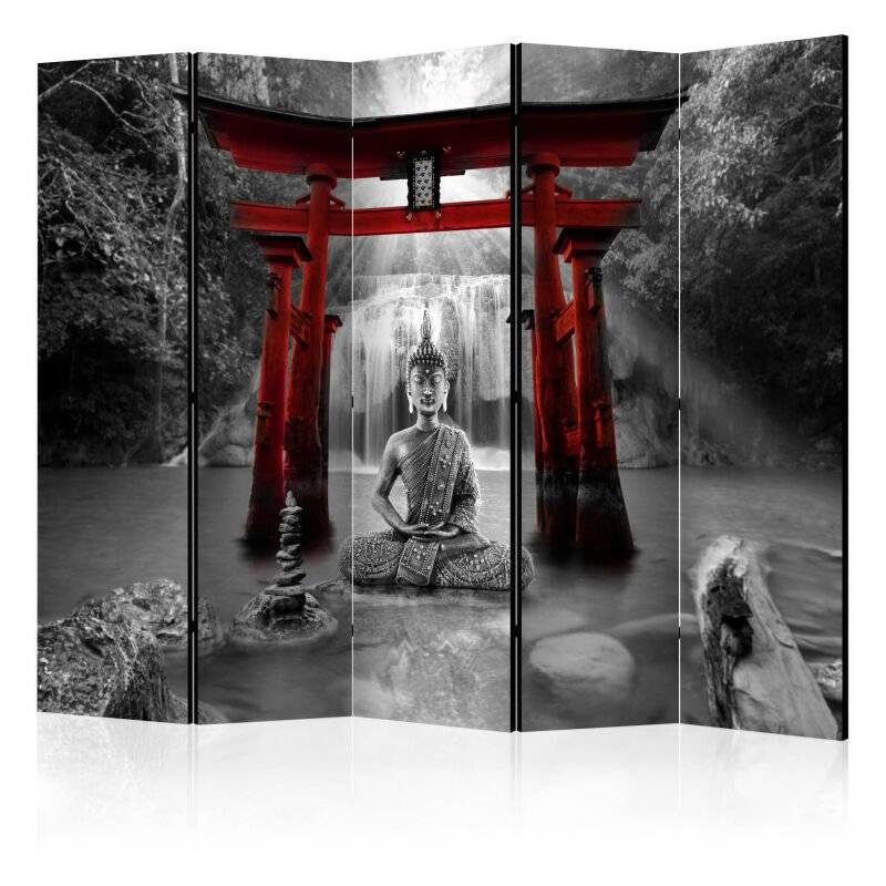Artgeist - Paravent 5 volets - Buddha Smile (Red) II [Room Dividers] 225x172