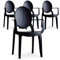 COTECOSY Lot de 4 chaises Sofiane Polycarbonate Noir fumé - Noir / Gris <br /><b>299.00 EUR</b> ManoMano
