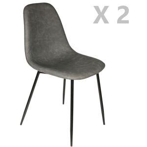THE HOME DECO FACTORY 2 Chaises design vintage Amber - Gris - Gris - Publicité