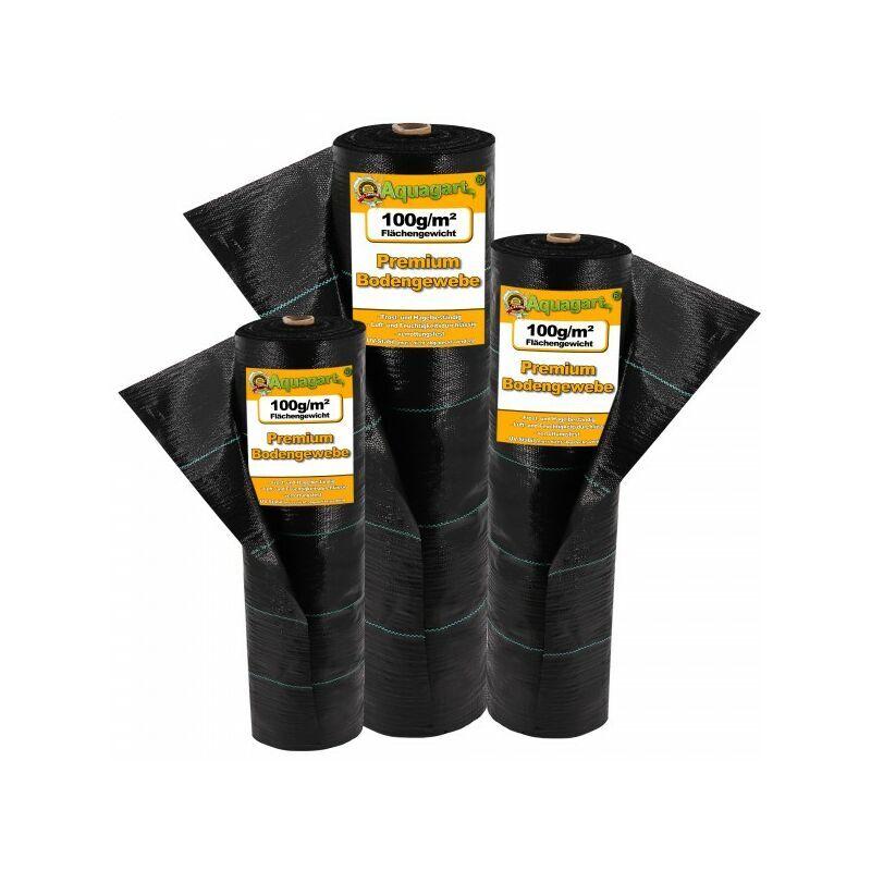 AQUAGART 208 m² tissu de sol, bâche anti-mauvaises herbes, bâche de paillage 100 g, 2 m