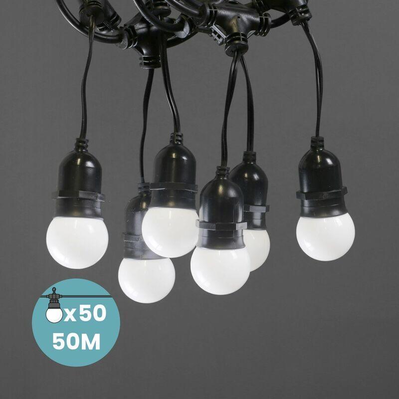 SKYLANTERN Guirlande Guinguette Pendante 50M Blanc - Guirlande Electrique Exterieur 50