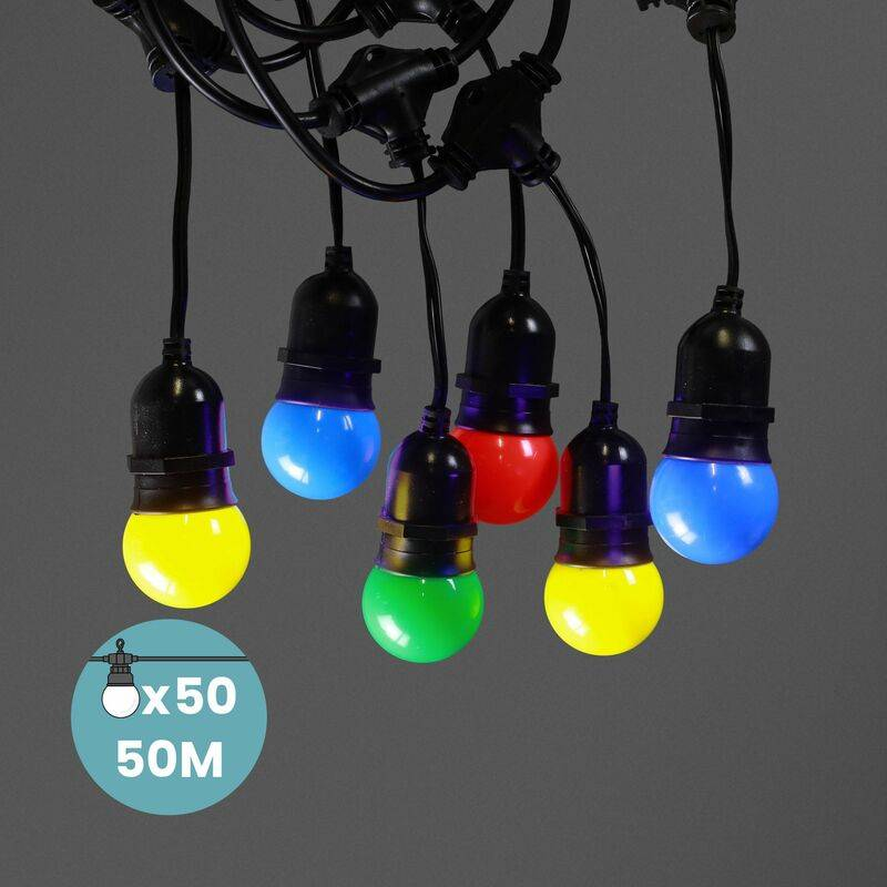 SKYLANTERN Guirlande Guinguette Pendante 50M Multicolore - Guirlande Electrique Exterieur