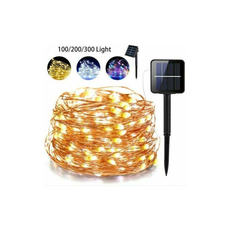 TOOLOFLIFE Guirlande Lumineuse Solaire 10M 100-300 LEDs,8 Modes d'Éclairage,Chaîne de fil