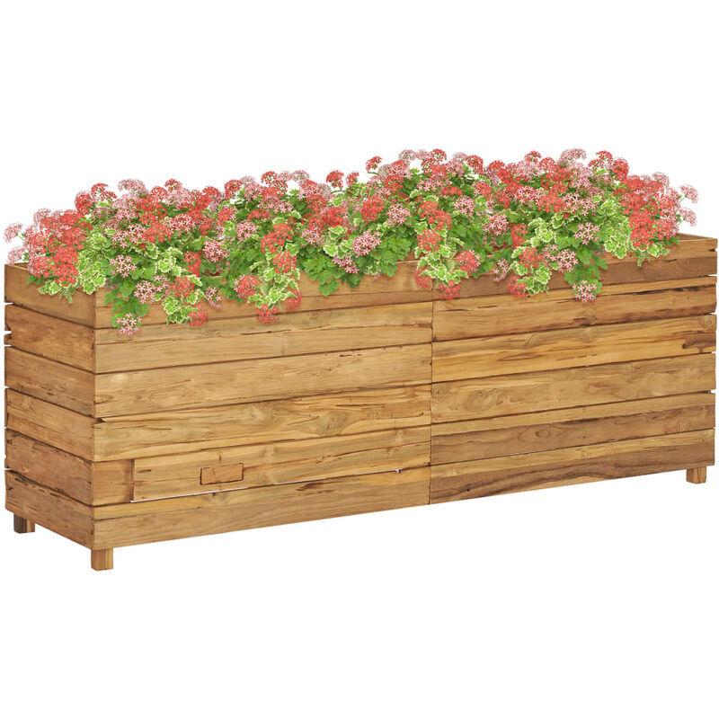 ZQYRLAR Jardinière 150x40x55 cm Bois de teck recyclé et acier
