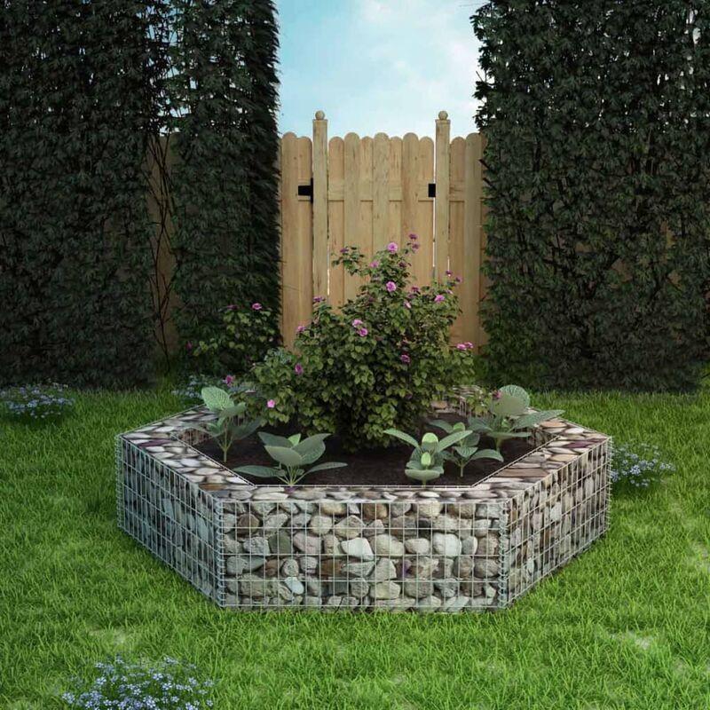 YOUTHUP Jardinière à gabion hexagonale Mur en gabion 200 x 173 x 40 cm