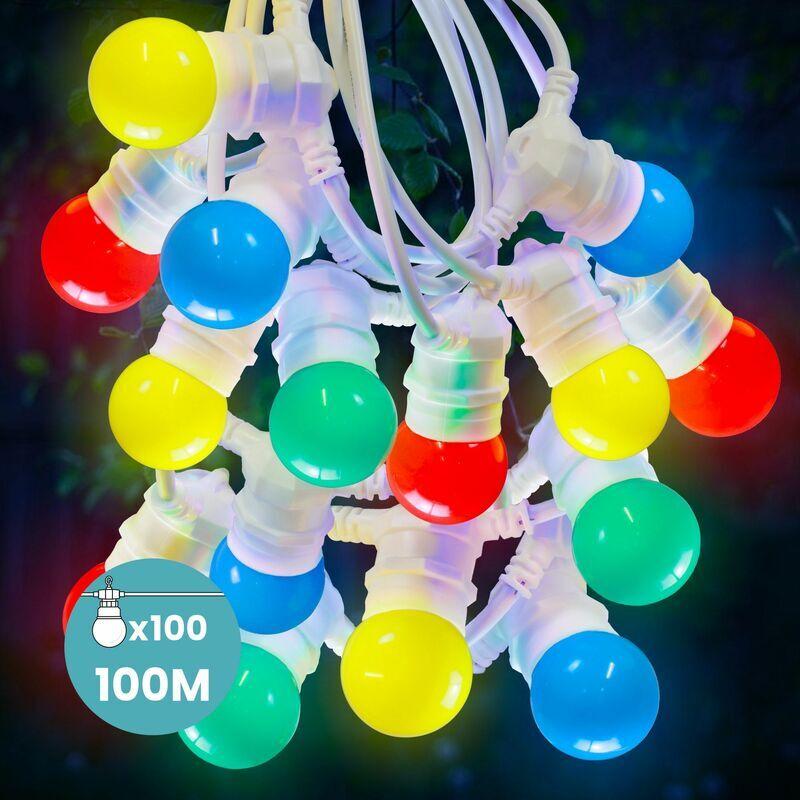 SKYLANTERN Kit Guirlande Guinguette 100m Multicolore Raccordable en Série Cable Blanc