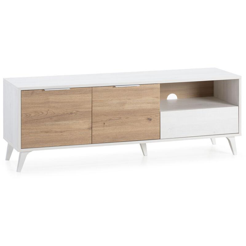 Vs Venta-stock - Meuble TV Koln 2 Portes et 1 tiroir.Couleur Blanc brossée et