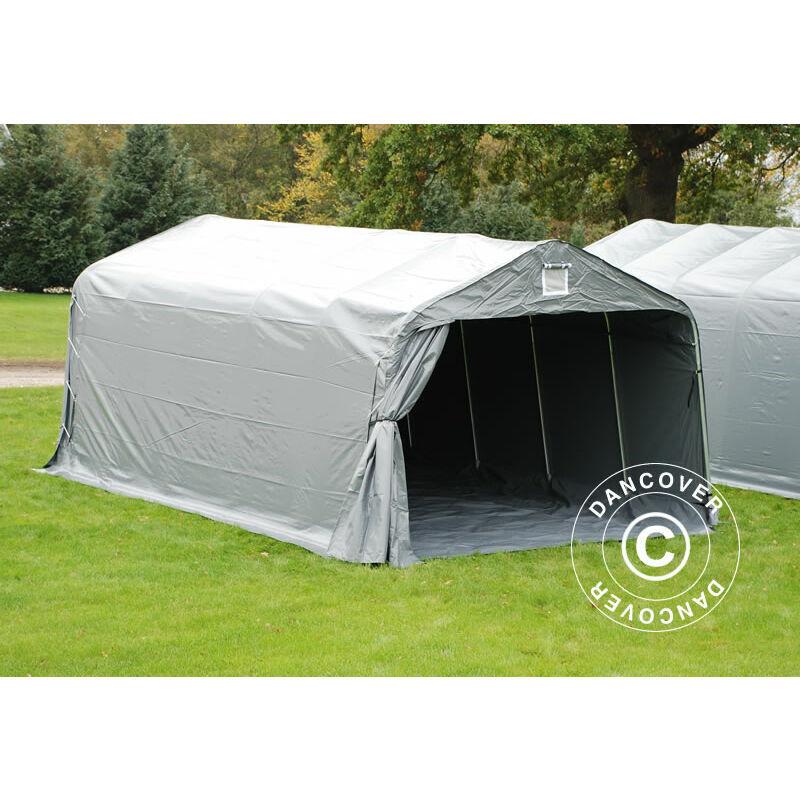 DANCOVER Tente abri Voiture garage PRO 3,6x6x2,7m PVC avec couvre-sol, Gris
