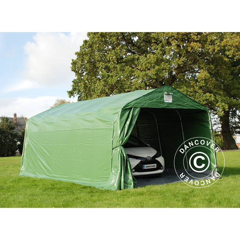 DANCOVER Tente abri Voiture garage PRO 3,6x6x2,7m PVC avec couvre-sol, Vert