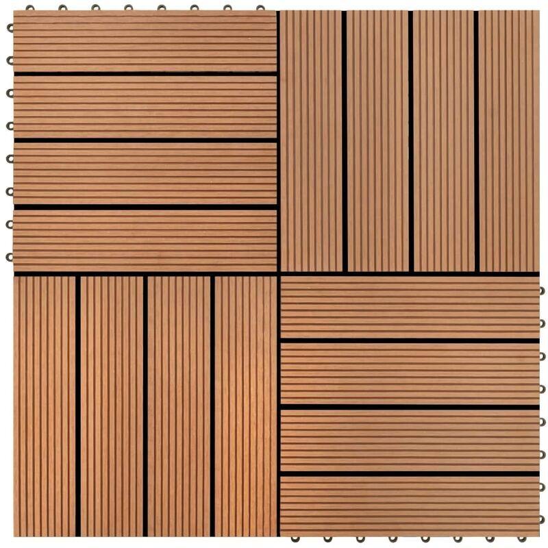 Youthup - WPC carrelage de 11 pièces 30x30 cm pour terrasse-balcon-jardin brun