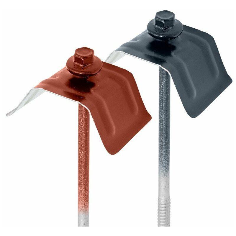 FAYNOT 50 Kits de Fixation Sommet d'Onde pour Tôle Axel Plus®   Rouge Tuile   RAL 8012