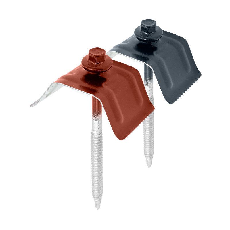 FAYNOT 50 Kits de Fixation Sommet d'Onde pour Tôle TEK28®   Rouge Tuile   RAL 8012