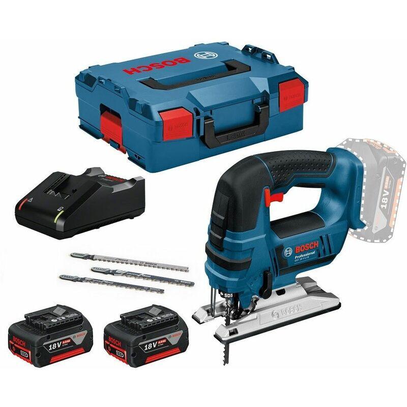 Bosch - Scie sauteuse 18V 2 batteries 4.0Ah + chargeur + L-Boxx GST 18 V-LI B