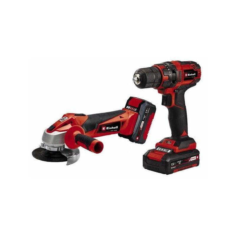 Einhell - Kit d'outils TC-TK 18 Li Kit - Perceuse-visseuse et meuleuse d'angle