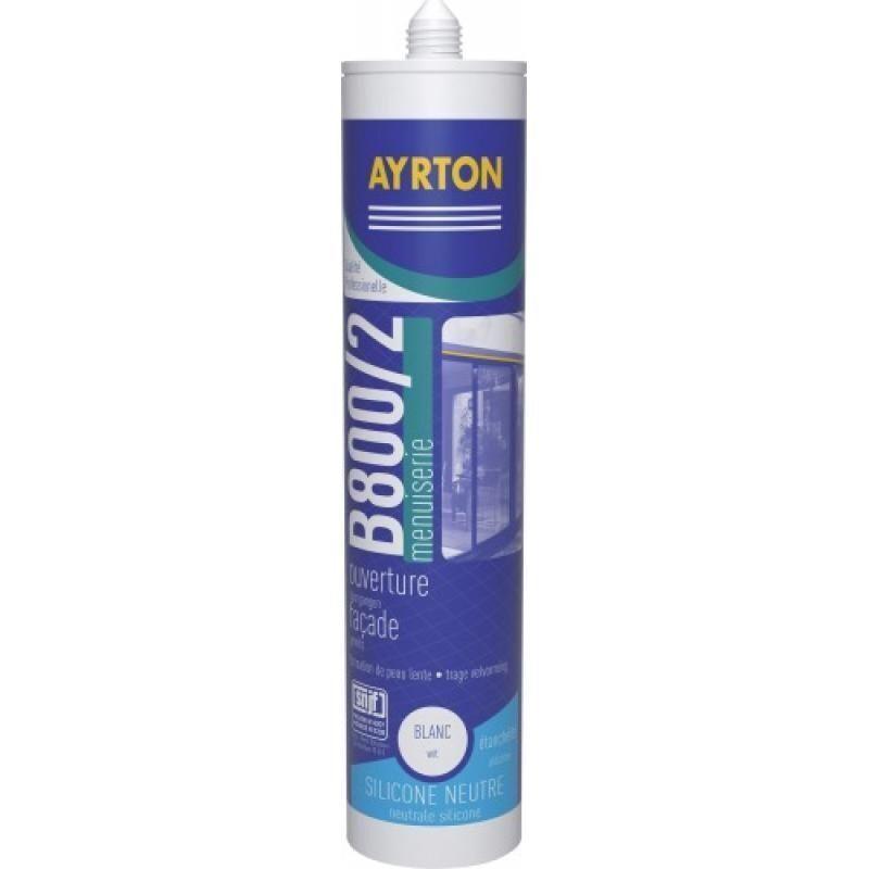 AYRTON Mastic menuiserie silicone neutre B 800/2 coloris gris cartouche de 300 ml