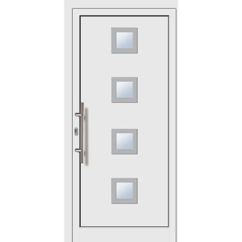 Meeth - Portes d'entrée aluminium/PVC modèle 484, intérieur: blanc, extérieur: