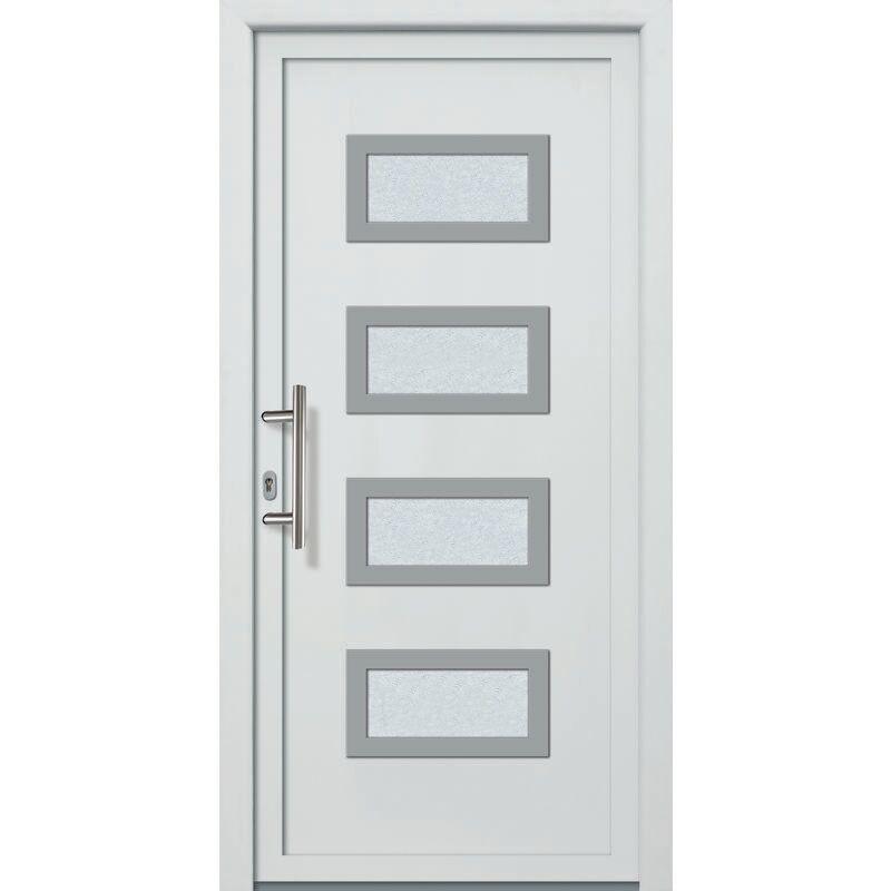 Meeth - Portes d'entrée aluminium/PVC modèle 492, intérieur: blanc, extérieur: