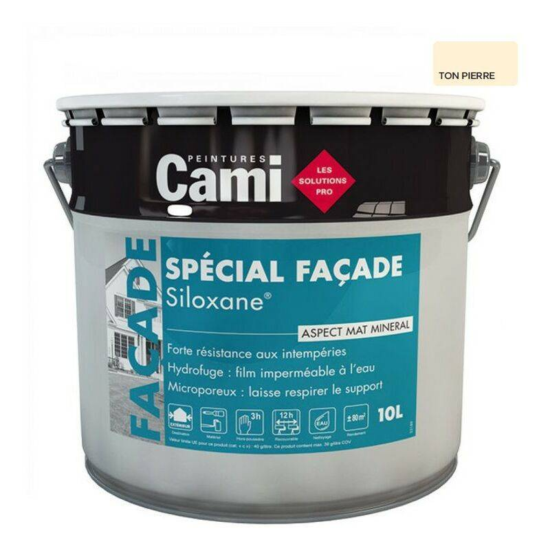 CAMI SILOXANE TON PIERRE 10L -Peinture facades technologie acrylique et siloxane