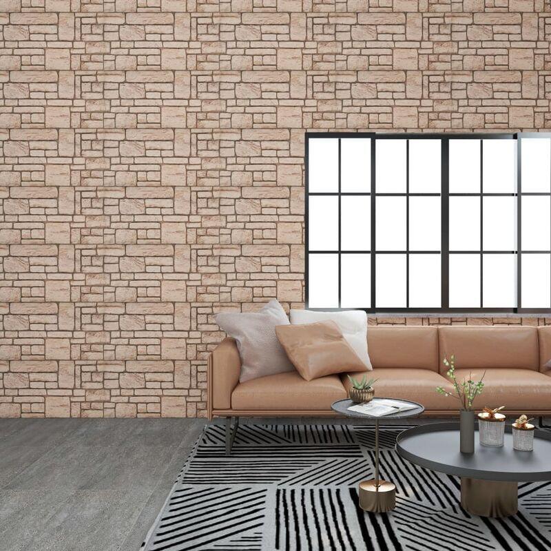 TRUE DEAL Panneaux muraux 3D avec design de brique beige 11 pcs EPS - True Deal