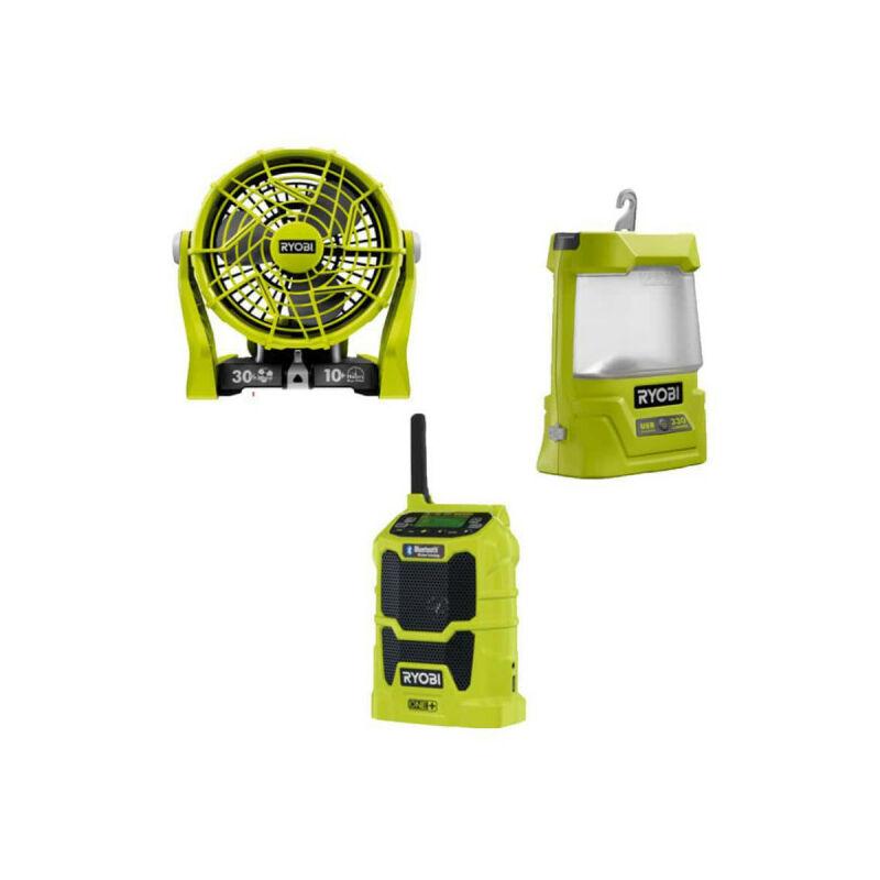 RYOBI Pack detente RYOBI ventilateur 2 vitesses 18V OnePlus R18F-0 - radio bluetooth