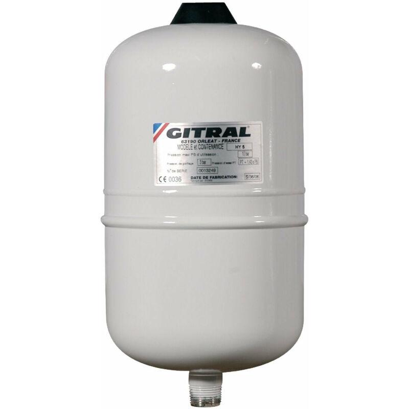 GITRAL Vase d'expansion a membrane fixe HYDROCHAUD pour eau sanitaire 5 litres