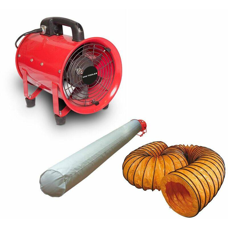 MW-TOOLS Ventilateur extracteur 200 mm - 250 W avec tuyau et sac filtrant MV200SET