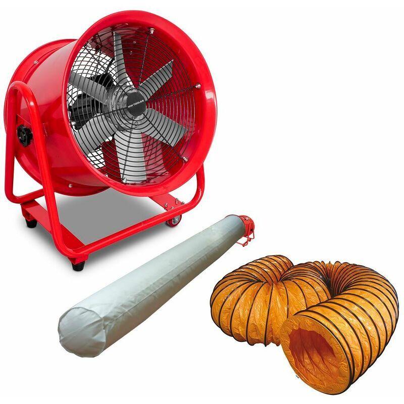 MW-TOOLS Ventilateur extracteur 400 mm - 550W 380V avec tuyau et sac filtrant MV400R3SET