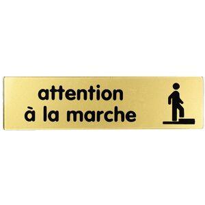 Novap - Plaquette Attention à la marche - Plexiglas or 170x45mm - 4490151 - Publicité
