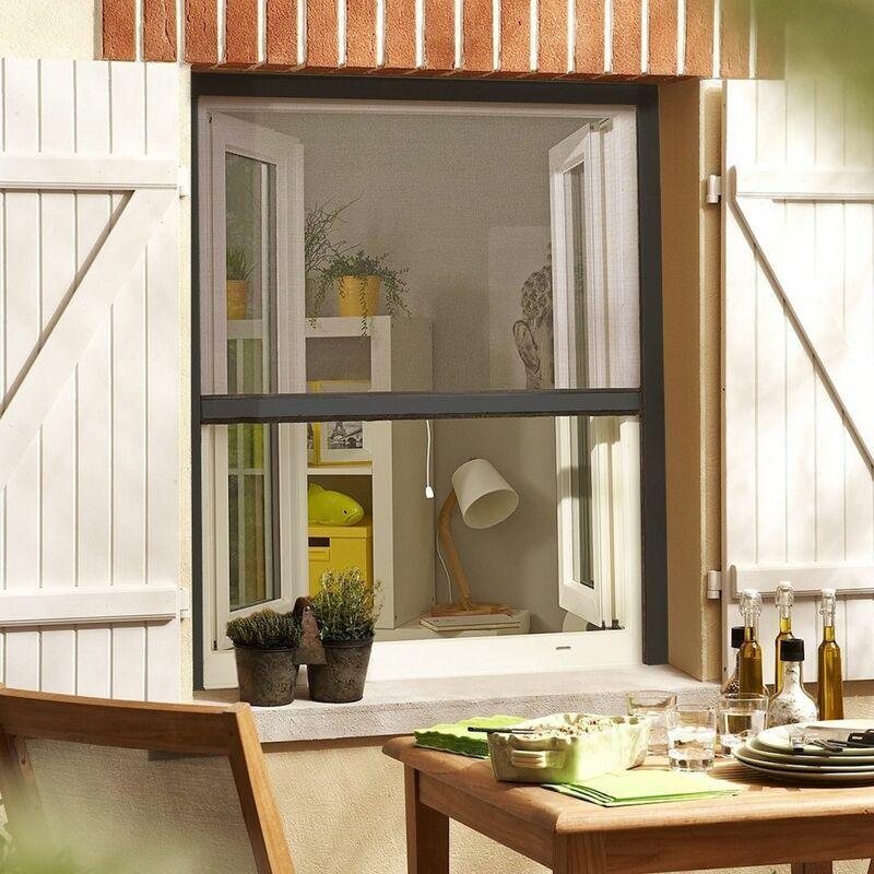 MADECOSTORE Moustiquaire Enroulable en Alu Recoupable pour Fenêtre - Gris anthracite - L130