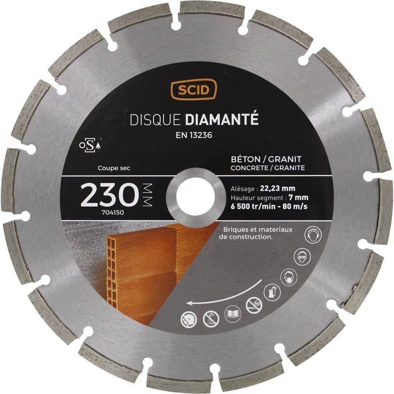 SCID Disque diamanté béton granit SCID - Diamètre 230 mm
