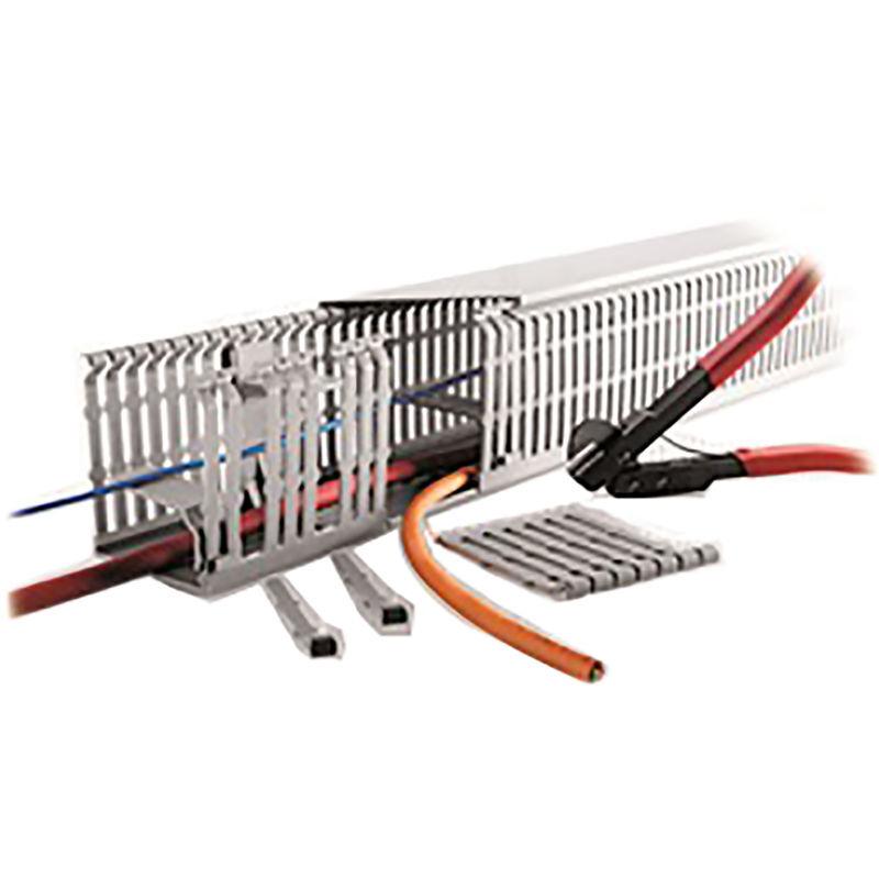 RS PRO Goulotte de câblage, Gris en PC/ABS sans halogène, Ouvert, 80 mm x 100mm 2m