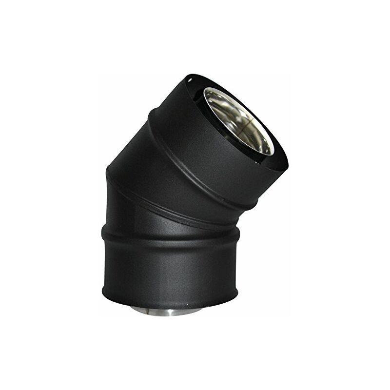 ISOTIP-JONCOUX 852608 Coude 45° Inox/G. Pellets, Noir, Diamètre 80/125 - Isotip-joncoux