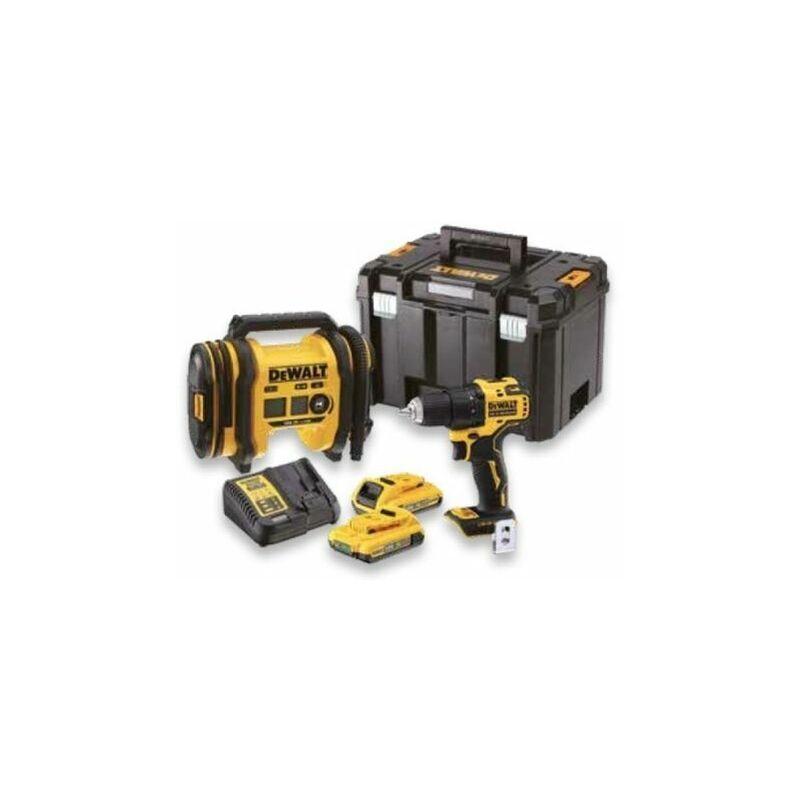 DEWALT - Kit 2 outils XR 18V 2Ah Li-Ion : Perceuse visseuse Compact Brushless +