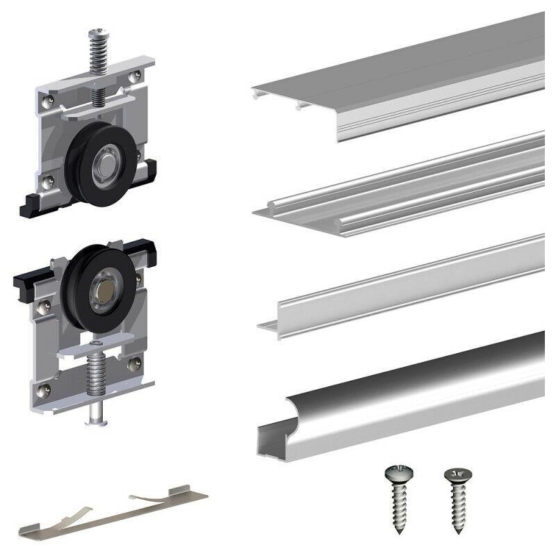 SLID'UP BY MANTION Kit SLID'UP 210 aluminium anodisé naturel pour 3 portes de placard coulissantes