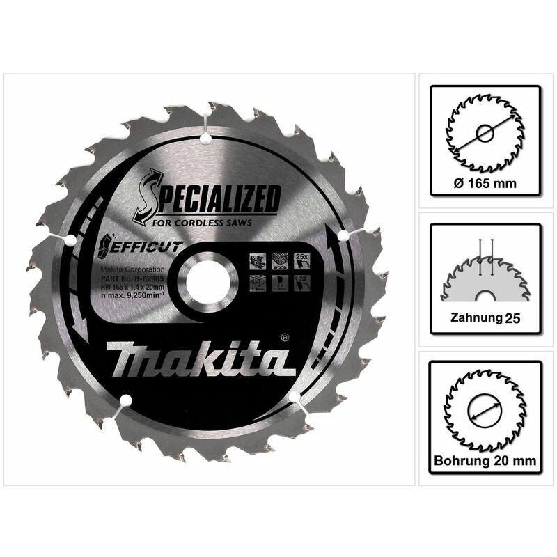 Makita EFFICUT Lame de scie circulaire pour Bois 165 x 20 x 1,4 mm 25 Dents (