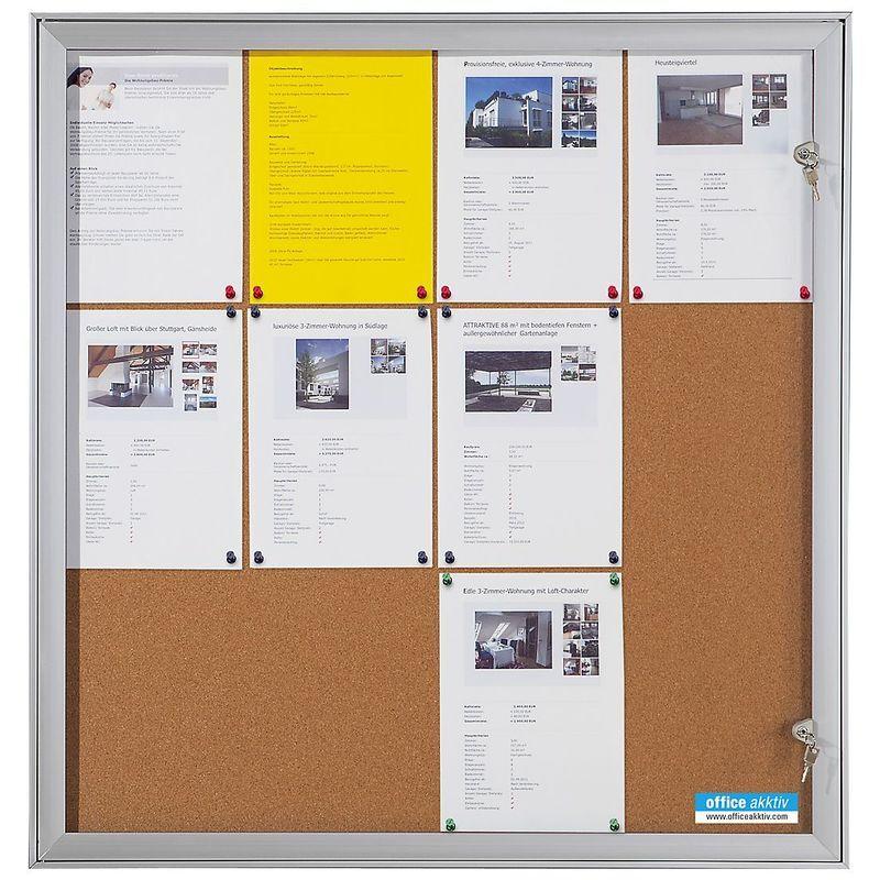 CERTEO OFFICE AKKTIV Vitrine d'affichage à porte battante - l x h x p ext. 742 x 697 x