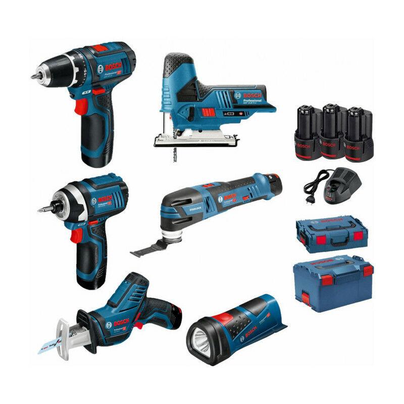 Bosch - Pack 12V 6 outils: Perceuse GSR 12V-15 + Visseuse à chocs GDR 12V-105 +