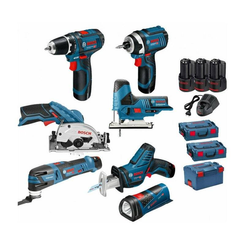 Bosch - Pack 12V 7 outils: Perceuse GSR 12V-15 + Visseuse à chocs GDR 12V-105 +