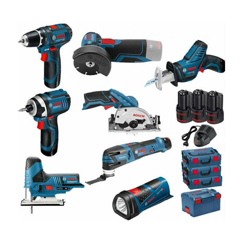 BOSCH Pack 12V 8 outils: Perceuse GSR 12V-15 + Meuleuse GWS 12V-76 + Visseuse à chocs