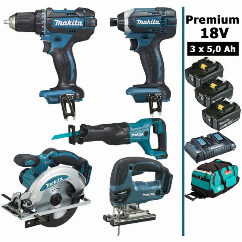 MAKITA Pack Makita Premium 5 machines 18V 5Ah: Perceuse DDF482 + Visseuse DTD152 +