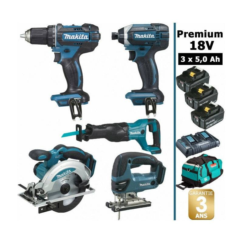 MAKITA Pack Makita Premium 5 machines 18V 5Ah: Perceuse DDF482 + Visseuse DTD152 +